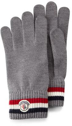 Moncler Striped Logo Cashmere Knit Gloves, Black $210 thestylecure.com