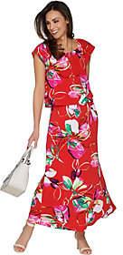 Susan Graver Printed Liquid Knit Maxi Dress