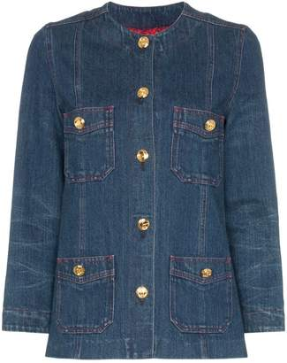 Gucci collarless denim jacket