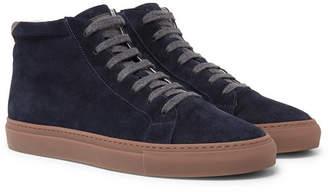 Brunello Cucinelli Nubuck-Trimmed Suede High-Top Sneakers