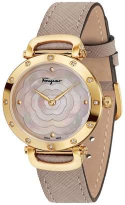 Salvatore Ferragamo Diamond Leather Strap Watch, 34mm