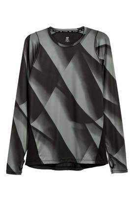 H&M Long-sleeved Running Top - Green/black patterned - Men