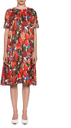 Marni Short-Sleeve Pleated A-Line Floral-Print Dress
