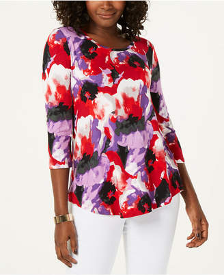 JM Collection Petite Crewneck Printed Top
