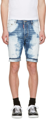 Dsquared2 Blue Denim Glam Head Shorts $465 thestylecure.com