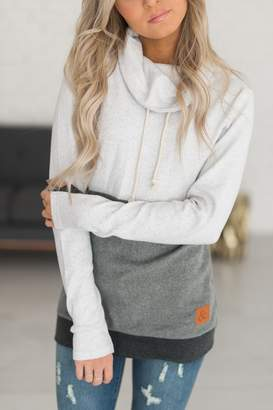 Ampersand Avenue CowlNeck Sweatshirt - Colorblock Grey