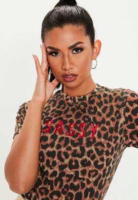 Missguided Brown Leopard Print Sassy Graphic T Shirt