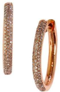 Effy Diamond And 14K Rose Gold Hoop Earrings