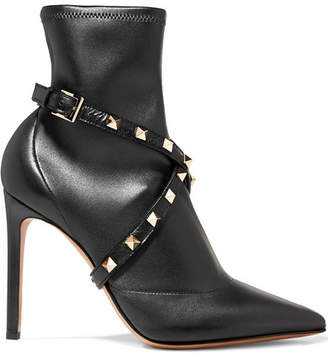 Valentino Garavani Studwrap Leather Ankle Boots - Black