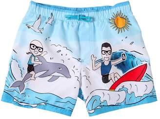 Dolce & Gabbana Sea & Surf Print Nylon Swim Shorts