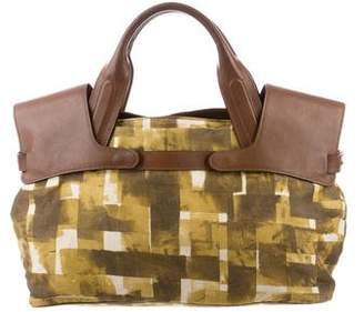 Marni Leather-Trimmed Canvas Tote