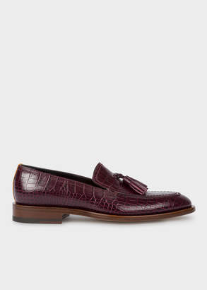 Paul Smith Womens Burgundy Mock-Croc Leather Alexis Loafers