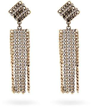 Alessandra Rich - Crystal Embellished Chain Drop Earrings - Womens - Crystal
