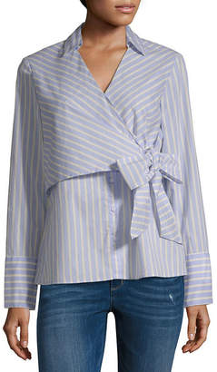 BELLE + SKY Long Sleeve V Neck Poplin Blouse