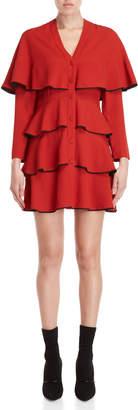Philosophy di Lorenzo Serafini Red Ruffled Long Sleeve Dress