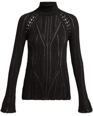 Alexander McQueen Lattice Silk Blend Sweater - Womens - Black