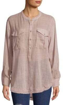 Free People Long-Sleeve Frayed-Hem Shirt