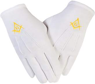 Gloves4Masons Masonic Freemasons Cotton Gloves Embroidered in Gold Square Compass S&C
