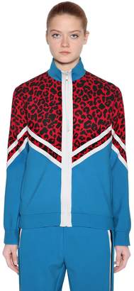 N°21 Zip-Up Leopard Jersey Sweatshirt