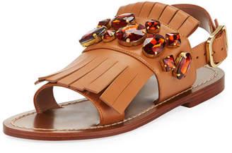 Marni Jeweled Fringe Flat Sandal