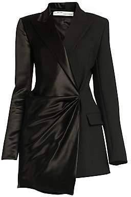 Off-White Women's Formal Half-&-Half Satin Wrapped Jacket