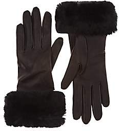 Barneys New York Women's Fur-Cuff Gloves - Black