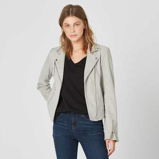 DSTLD Womens Suede Moto Jacket in Smoke
