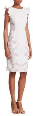 Nero by Jatin Varma Floral Ruffle Sheath Dress