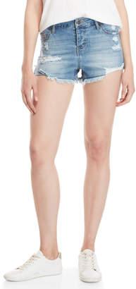Celebrity Pink Zoey Distressed Rolled Denim Shorts
