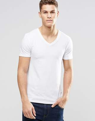 Asos Design Muscle Fit T-Shirt With V Neck And Stretch