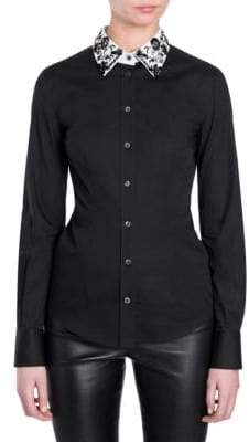 Dolce & Gabbana Embellished-Collar Poplin Button-Down Shirt