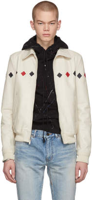 Saint Laurent White Leather Bomber Jacket