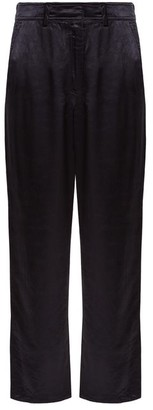 Sies Marjan - Blake Straight Leg Satin Trousers - Womens - Navy