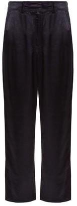 Sies Marjan Blake Straight Leg Satin Trousers - Womens - Navy