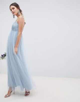 Asos Design Bridesmaid Lace And Dobby Cami Bodice Maxi Dress