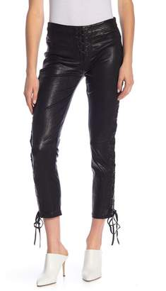 Frame Lace-Up Cropped Leather Pants