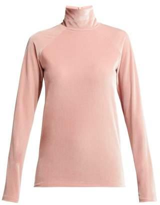 Haider Ackermann High Neck Velvet Top - Womens - Pink