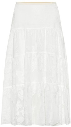 See by Chloe Embroidered midi skirt