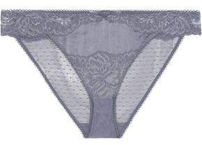 Stella McCartney Isabel Floating Corded Lace And Stretch-Silk Satin Low-Rise Briefs