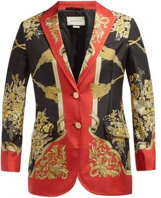 Gucci Floral Print Single Breasted Silk Blazer - Womens - Red Multi