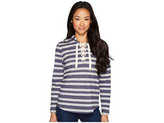 U.S. Polo Assn. French Terry Striped Pullover Hoodie Women's Sweatshirt