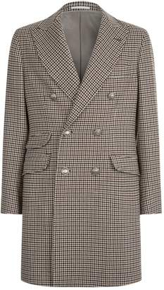 Brunello Cucinelli Houndstooth Double Breasted Coat