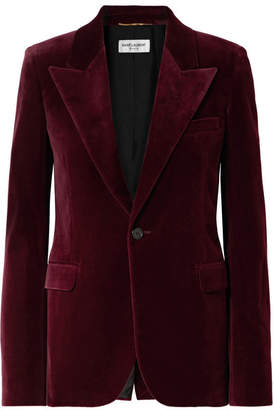 Saint Laurent Cotton-velvet Blazer - Burgundy