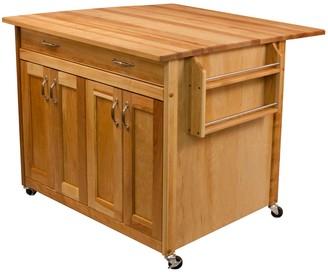 Catskill Craft Deep Island Drop Leaf Kitchen Cart