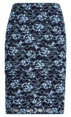 Ralph Lauren Scalloped Lace Pencil Skirt Blue/Navy 10