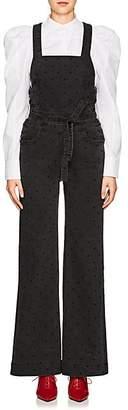 Ulla Johnson Women's Suvi Dot-Embroidered Denim Overalls - Black