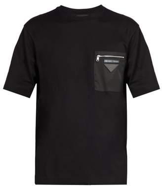 Prada Shell Panelled Cotton Jersey T Shirt - Mens - Black