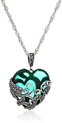 Glass Heart Sterling Silver Oxidized Genuine Marcasite and Emerald Colored Glass Filigree Heart Pendant Necklace