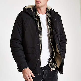 River Island Black hooded fleece lined jacket