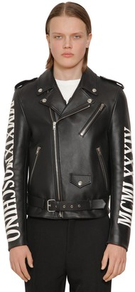 Moschino Logo Leather Biker Jacket